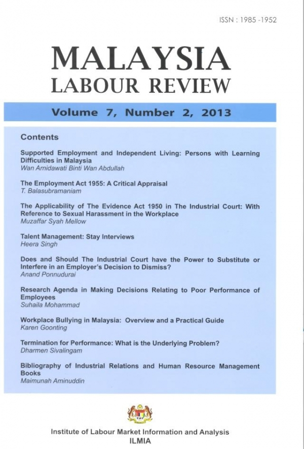Malaysian Labour Review Volume 7, Number 2, 2013